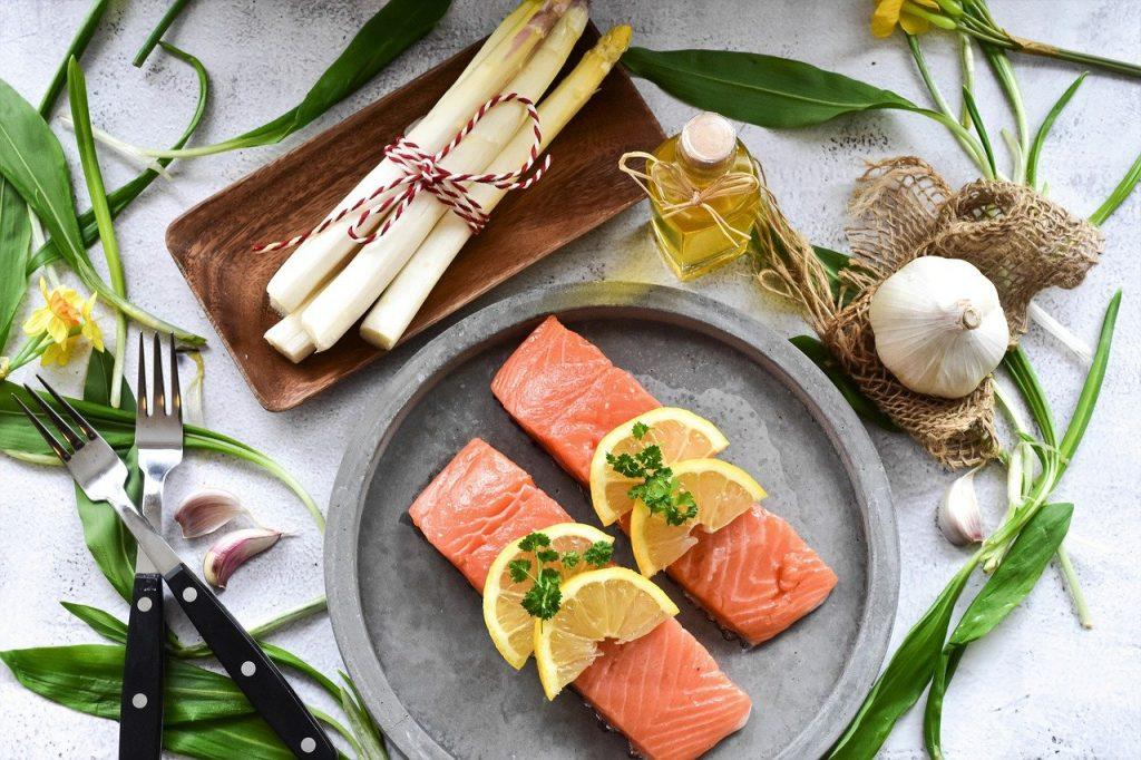 salmon, fish, raw