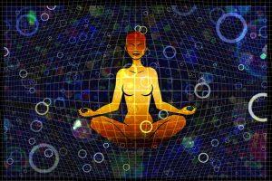 woman, meditation, grid